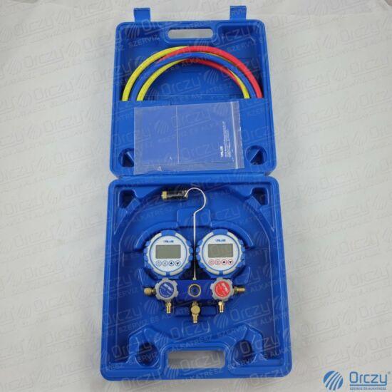 Csaptelep készlet, digitális, kétcsapos VDG-2-S1 (R22, R32, R290, R410A, 1234yf, R134a, R404A, R407C, R507 hűtőközegekhez) VALUE