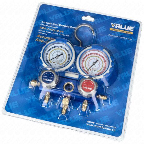 Csaptelep dupla, kétcsapos VMG-2-R22-B-03 (R-404A; R-407C; R-134a;R-22 hűtőközegekhez) VALUE