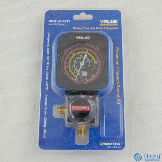 Csaptelep, analóg, egycsapos, HP (magas nyomás) VRM1-B0403 (R22, R134a, R407C, R410A hűtőközegekhez) VALUE